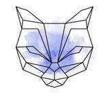 Abstrakcjonistyczni tygrysa lub kota geometryczni kształty z akwarelą royalty ilustracja