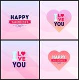 Abstrakcjonistyczni valentines dnia plakaty ustawiający Wektorowi kartka z pozdrowieniami z Zdjęcie Royalty Free
