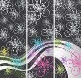 Abstrakcjonistyczni wiosna sztandary. Kwiaty na kreskowym backg Ilustracji