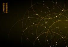 Abstrakcjonistyczni złociści neonowi okręgi z światłem pokrywa się na czarnym tle ilustracji