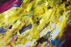 Abstrakcjonistyczni złoci błękitni fiołków kolory, szczotkarscy uderzenia, organicznie hipnotyczny tło Obraz Stock