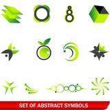 abstrakcjonistyczni zieleni ustaleni symbole Obraz Royalty Free