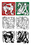 Abstrakcjonistyczni zwierzęta w celta stylu Obraz Stock