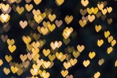 Abstrakcjonistyczny żółty serca bokeh tło Fotografia Royalty Free