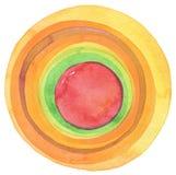 Abstrakcjonistyczny akrylowy i akwarela okrąg malujący tło Zdjęcia Stock