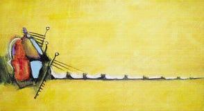 abstrakcjonistyczny akrylowy obraz Obrazek w żółtym cieniu Obraz Stock