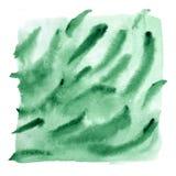 Abstrakcjonistyczny akwarela gradient w zielonej gammie z kapinosami i muśnięć uderzeniami, ciekła tekstura, ręka malował ilustra obraz stock