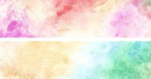 Abstrakcjonistyczny akwarela sztandar, upaćkana szczotkarska farby sztuka Zdjęcia Royalty Free