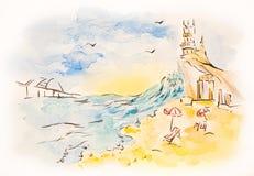 Abstrakcjonistyczny akwareli Crimea seascape z crimean bridżową ilustracją Zdjęcia Stock