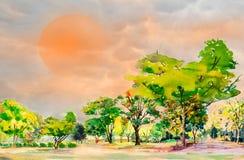 Abstrakcjonistyczny akwareli malować kolorowy kwiatu ogródu drzewa ilustracja wektor