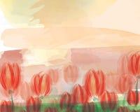 Abstrakcjonistyczny akwareli rewolucjonistki tulipan ilustracji