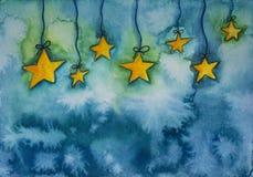 Abstrakcjonistyczny akwareli tło z gwiazdami royalty ilustracja