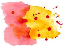 Abstrakcjonistyczny akwareli tło z kleksami Zdjęcia Royalty Free