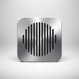 Abstrakcjonistyczny App ikony szablon z metal teksturą ilustracja wektor