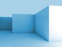 Abstrakcjonistyczny architektoniczny 3d tło z błękita pustym wnętrzem Obrazy Royalty Free