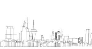 Abstrakcjonistyczny architektoniczny rysunku nakreślenie, miasto głąbik Zdjęcie Stock
