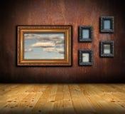 Abstrakcjonistyczny architektoniczny tło z ramami na ścianie Zdjęcia Royalty Free