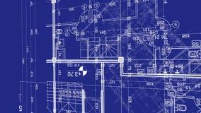 Abstrakcjonistyczny architektury tło: projekta domu plan z nakreśleniem animującym w tle miasto royalty ilustracja