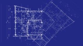 Abstrakcjonistyczny architektury tło: projekta domu plan z nakreśleniem animującym w tle miasto ilustracja wektor