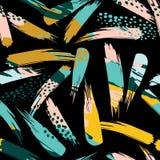 Abstrakcjonistyczny artystyczny bezszwowy wzór z uderzeniami Modna ręka rysować tekstury nowożytny ilustracji
