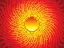 Abstrakcjonistyczny artystyczny płonący słońce Zdjęcia Royalty Free