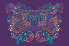 Abstrakcjonistyczny artystyczny płaski kwiecisty ornament z fala ilustracji