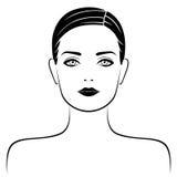 Abstrakcjonistyczny atrakcyjny żeński portret ilustracja wektor