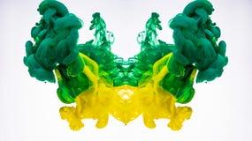 Abstrakcjonistyczny atramentu dym Akrylowy barwidła wirować podwodny Koloru żółtego i zieleni atrament fotografujący podczas gdy  fotografia stock
