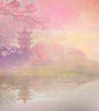 Abstrakcjonistyczny azjata krajobraz ilustracja wektor