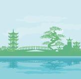 Abstrakcjonistyczny Azjatycki świątynia krajobraz ilustracji