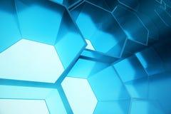 Abstrakcjonistyczny błękit futurystyczny nawierzchniowy sześciokąta wzór, heksagonalny honeycomb z lekkimi promieniami, 3D render Obrazy Royalty Free