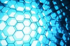 Abstrakcjonistyczny błękit futurystyczny nawierzchniowy sześciokąta wzór, heksagonalny honeycomb z lekkimi promieniami, 3D render Zdjęcie Royalty Free