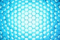 Abstrakcjonistyczny błękit futurystyczny nawierzchniowy sześciokąta wzór, heksagonalny honeycomb z lekkimi promieniami, 3D render Zdjęcia Royalty Free