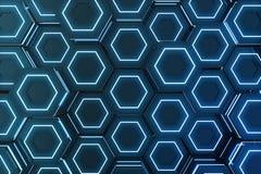 Abstrakcjonistyczny błękit futurystyczny nawierzchniowy sześciokąta wzór, heksagonalny honeycomb z lekkimi promieniami, 3D render Zdjęcia Stock