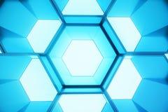 Abstrakcjonistyczny błękit futurystyczny nawierzchniowy sześciokąta wzór, heksagonalny honeycomb z lekkimi promieniami, 3D render Obraz Royalty Free