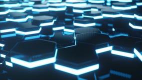 Abstrakcjonistyczny błękit futurystyczny nawierzchniowy sześciokąta wzór z lekkimi promieniami Błękitny geometryczny heksagonalny obrazy stock
