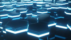Abstrakcjonistyczny błękit futurystyczny nawierzchniowy sześciokąta wzór z lekkimi promieniami Błękitny geometryczny heksagonalny obraz stock