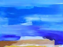 abstrakcjonistyczny błękit krajobraz malująca tekstura Zdjęcia Royalty Free