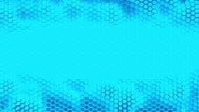 Abstrakcjonistyczny błękit krystalizujący tło Honeycombs ruch jak ocean Z miejscem dla teksta lub loga pętla ilustracji