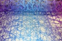 Abstrakcjonistyczny błękit z purpurami chaotyczni włókna Fotografia Royalty Free