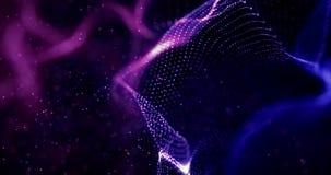 Abstrakcjonistyczny błękitnego, fiołkowego geometrical plexus cząsteczek bieżący ruch na czarnym tle z i royalty ilustracja