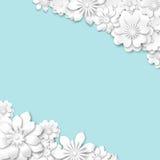 Abstrakcjonistyczny błękitny ślubny tło z białym 3d kwitnie Zdjęcia Stock