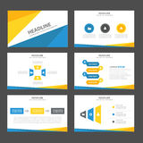 Abstrakcjonistyczny Błękitny żółty infographic element i ikony prezentaci szablonów płaski projekt ustawiamy dla broszurki ulotki Fotografia Royalty Free