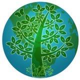 abstrakcjonistyczny błękitny eco planety sylwetki drzewo Fotografia Stock