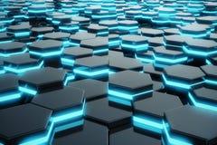 Abstrakcjonistyczny błękitny jarzyć się futurystyczny nawierzchniowy sześciokąta wzór świadczenia 3 d ilustracja wektor