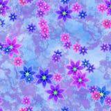 abstrakcjonistyczny błękitny kwiecisty wzór tło tekstury stara ceglana ściana ilustracji