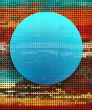 Abstrakcjonistyczny błękitny okrąg na kolorowym kropki tle ilustracji