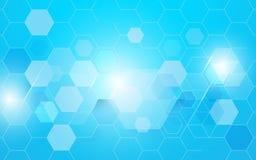 Abstrakcjonistyczny błękitny sześciokąt technologii pojęcia tło Obraz Stock