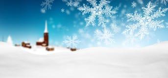 Abstrakcjonistyczny Błękitny tło panoramy zimy krajobraz z Spadać ilustracja wektor