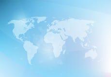 Abstrakcjonistyczny błękitny tło z światową mapą, Zdjęcie Royalty Free